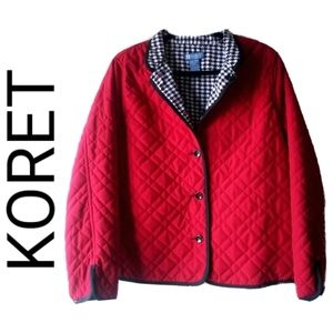 KORET PETITE QUILTED BUTTON UP JACKET - RED & BLAC